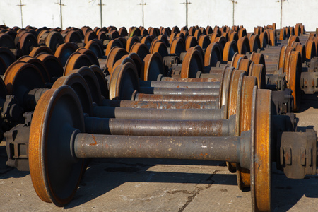 scrap iron: train wheel pair abstract background Stock Photo