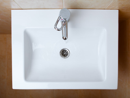sink: wash sink in a bathroom, top view Stock Photo