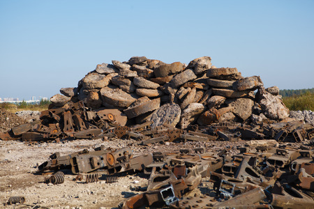 junk yard: scrap metal heap outdoors