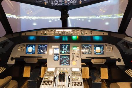 simulator: inside of homemade flight simulator cockpit
