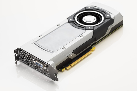 turbofan: professional gaming graphic card, white background Stock Photo