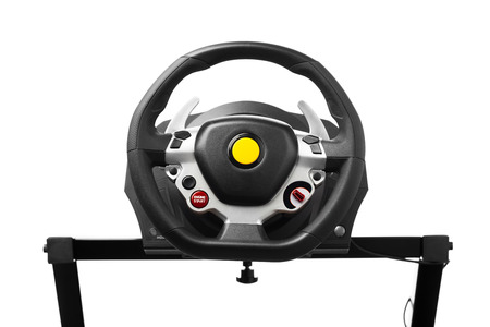 racing wheel for computer driving simulator, isolated on white photo
