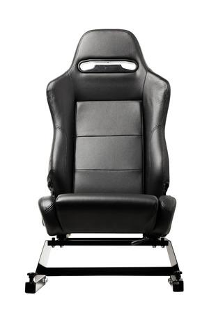 asiento coche: asiento simulador de carreras, aislado en blanco Foto de archivo