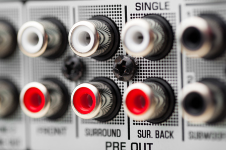rca: Prese RCA di audio surround ricevitore amplificatore Archivio Fotografico