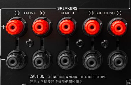 av: red and black speaker connectors of AV receiver Stock Photo