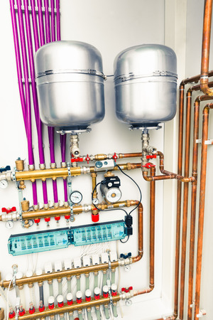 standalone: independent heating system in boiler-room Stock Photo