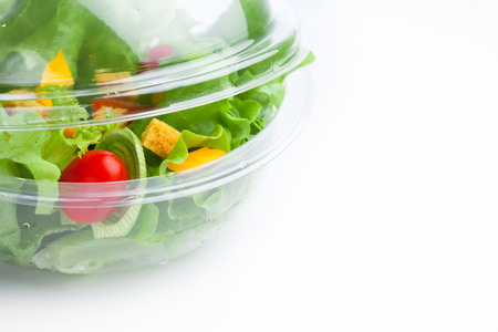 plastic box: fresh vegetables salad in plastic container Stock Photo