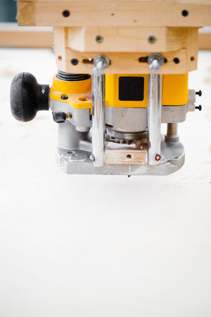 milling machine: wood milling machine in action Stock Photo