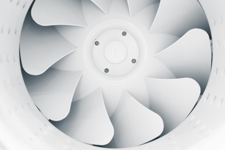 part of fan blades of modern ventilation system