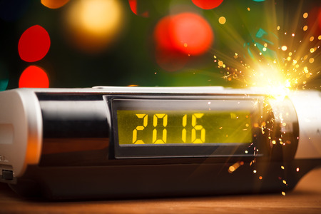 led display: Led display of digital clock with 2016 new year with sparkler