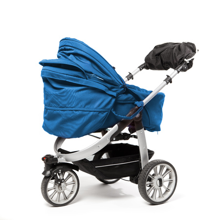 blue baby stroller isolated on white