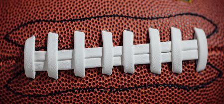encaje: cordones de fútbol americano y la textura, vista macro