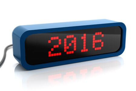 digital clock: Led display of 2016 new year, isolated on white Stock Photo