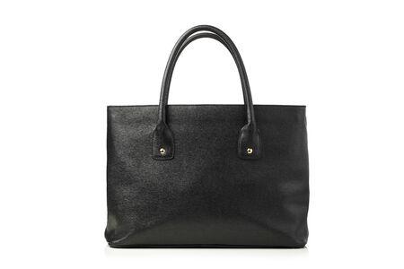 black grip: womens leather handbag, isolated on white Stock Photo