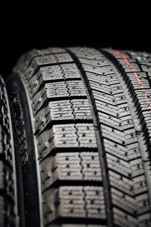 vulcanization: studless winter tire protector, closeup view Stock Photo
