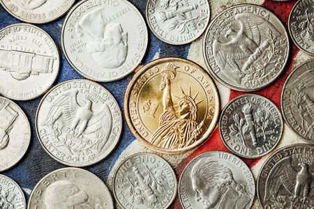 cent: american dollar and cent coins, macro view Stock Photo