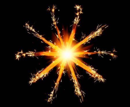 glare: christmas sparklers star with shiny glare Stock Photo