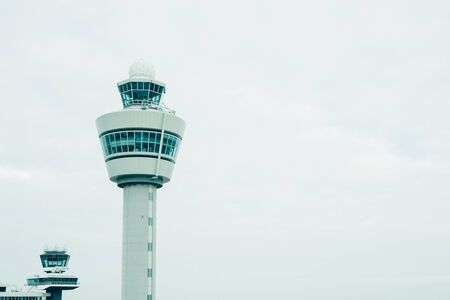 copyspace: airport traffic control tower with copyspace Stock Photo