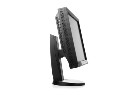 calibrated: professional graphic monitor, side view isolated on white Stock Photo