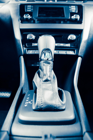 selector: gearstick of speed shift selector in automatic transmission car Stock Photo