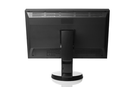 calibrated: professional graphic monitor, rear view isolated on white Stock Photo