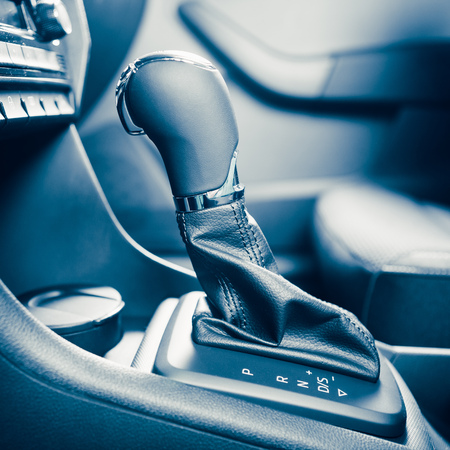gearstick: gearstick of speed shift selector in automatic transmission car Stock Photo