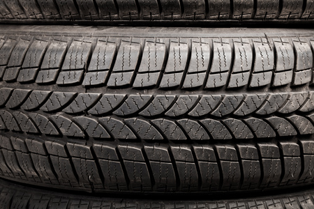 winter tires: used winter tires, closeup view Stock Photo