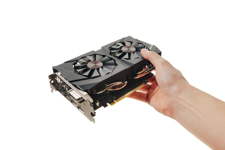computer isolated: graphic video card in a hand, isolated on white