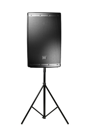 amplified: professional audio speaker PA on the tripod, isolated on white