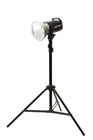 photo studio: photo studio flash light on the tripod, isolated on white Stock Photo