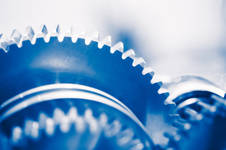 industry background: industry background with blue gear wheels Stock Photo
