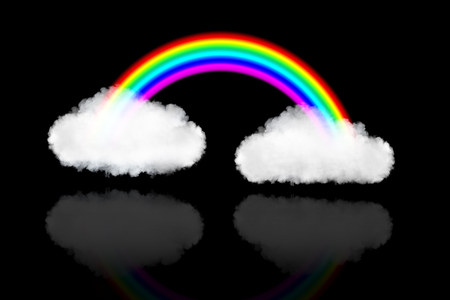 natural arch: two clouds with rainbow, isolated on black