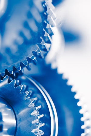 industry background with blue gear wheels Stock Photo