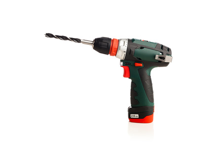cordless: cordless drill isolated on white Stock Photo