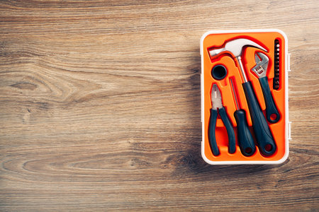 copyspace: tools box on wooden background with copy-space Stock Photo