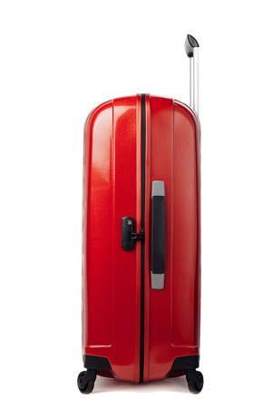 suit case: red carbon suitcase isolated on white Stock Photo
