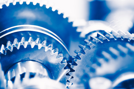 industry background with blue gear wheels Stok Fotoğraf