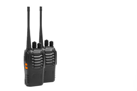 talkie: portable radios Walkie-talkie isolated on white Stock Photo