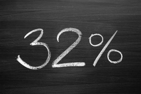 32: 32 percent header written with a chalk on the blackboard