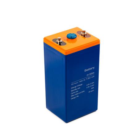 ácido: batería de plomo industrial, aislado en blanco Foto de archivo