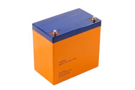 acido: batería de plomo industrial, aislado en blanco Foto de archivo