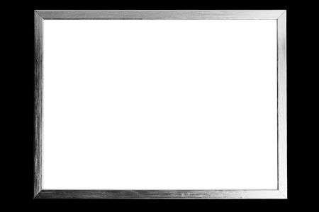 silver frame: silver metallic frame with copy-space, black background