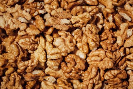 shelled: shelled walnuts background, closeup view