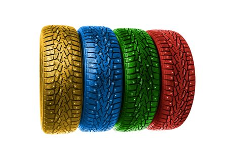 winter tires: colorful winter tires, isolated on white