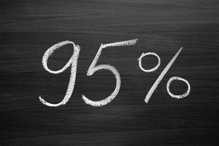 95: 95 percent header written with a chalk on the blackboard
