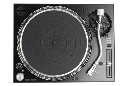 dj turntable: professional dj turntable isolated on white, top view