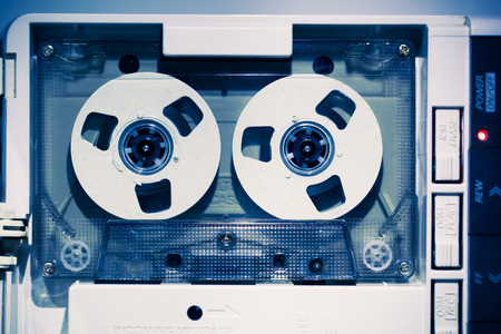 blue tone: vintage audio tape compact cassette, blue tone Stock Photo