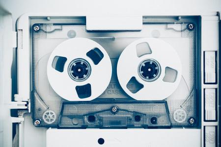 entertainment equipment: vintage audio tape compact cassette, blue tone Stock Photo