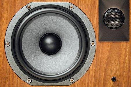 home audio: loudspeaker and tweeter in wooden cabinet Stock Photo