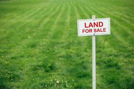grond te koop bord tegen getrimd gazon achtergrond